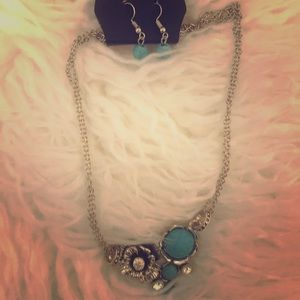 Silver and blue floral necklace